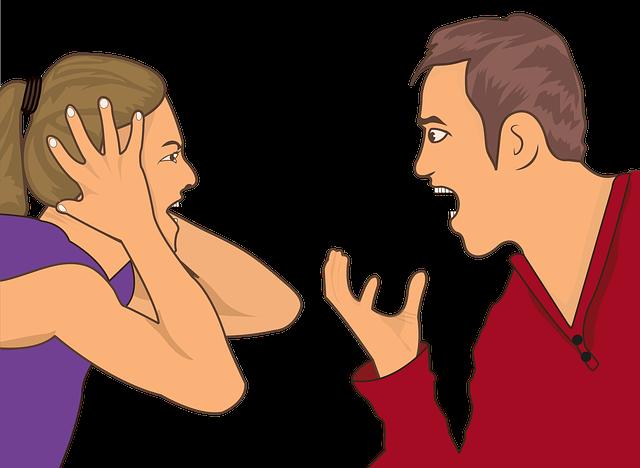 rozzlobený manžel a manželka